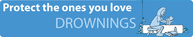 drownings banner: Protect the ones you love - adult and child on a boat wearing personal floatation devices