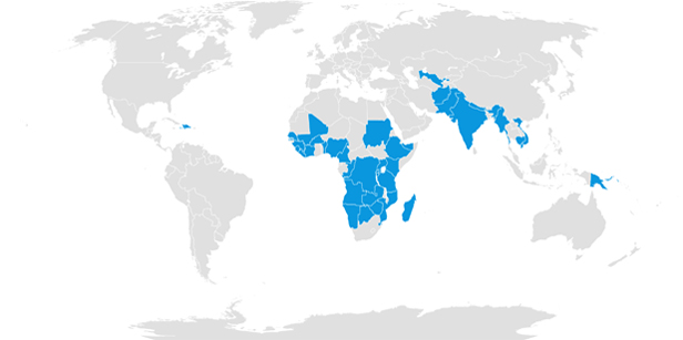 SWS Operations - World map showing countries where SWS operates in blue