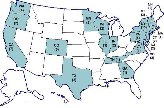 Map: Persons infected with the outbreak strain of Salmonella Wandsworth, by state of residence, as of July 18, 2007 (n=65)