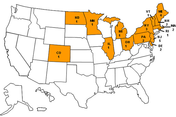 Map of Persons infected with the outbreak strain of Salmonella Agona, by state of residence, as of May 13, 2008 (n=28)