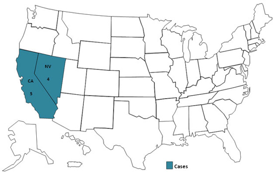 Case Count Map: Confirmed and probable cases infected with the outbreak strain of Salmonella Typhi, by state, as of August 20, 2010 (n=9)