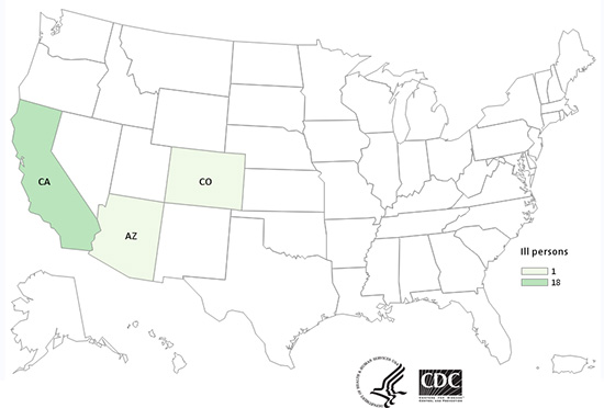 People infected with the outbreak strain of Salmonella Anatum, by state of residence
