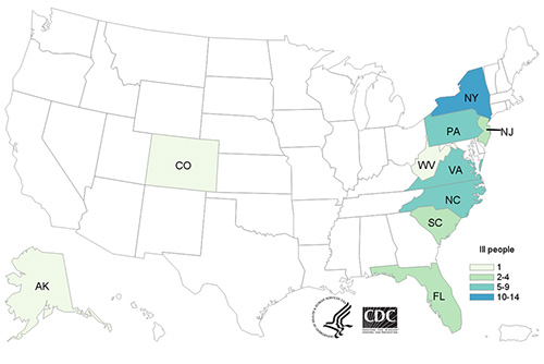 People infected with the outbreak strain of Salmonella, by state of residence.