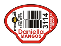Daniella brand mangoes product sticker