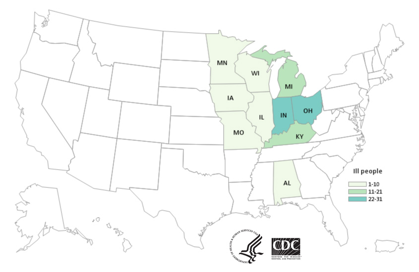 Map of United States - People infected with the outbreak strain of Salmonella, by state of residence, as of April 24, 2019