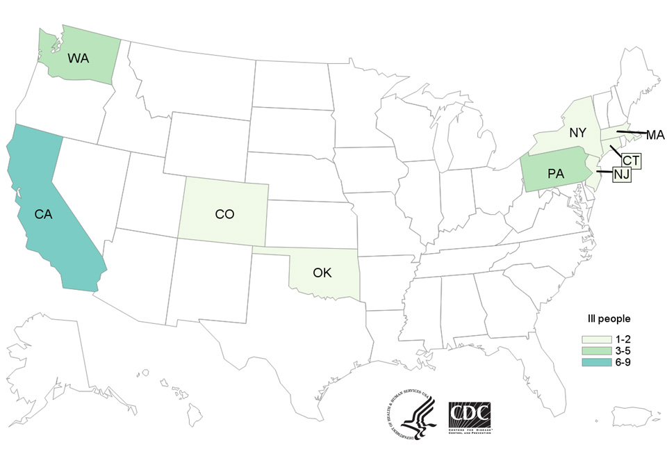 People infected with the outbreak strains of Salmonella I,4,[5],12:b:- or Salmonella Newport, by state of residence, as of January 12, 2018
