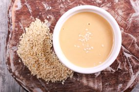 Photo of tahini in a bowl.