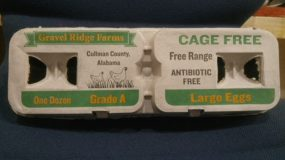 Photo of Gravel Ridge Farms egg carton.