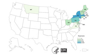 Final US MAP: Persons infected with the outbreak strains of Salmonella Enteritidis, by state of residence.