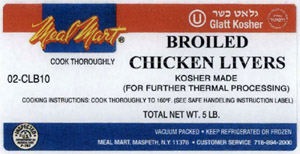 Kosher Broiled Chicken Livers Label