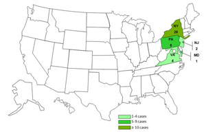 Map of persons infected with the outbreak strain of Salmonella Enteritidis, by state