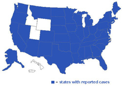 Cases of Salmonella Tennessee in