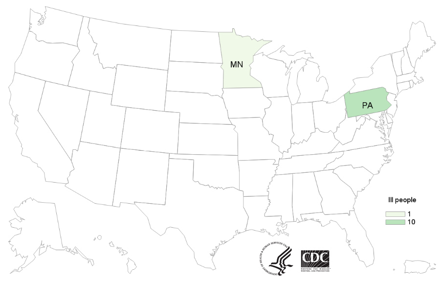 Map of United States - People infected with the outbreak strains of Salmonella by state of residence, as of December 10, 2019