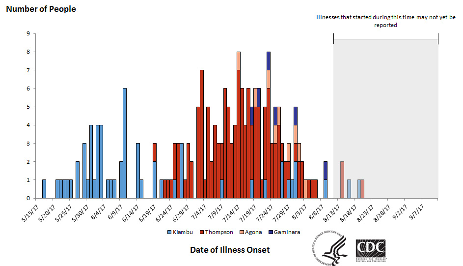 People infected with the outbreak strains of Salmonella, by date of illness onset*, September 11, 2017