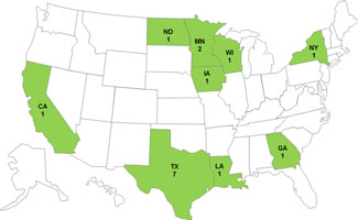 Final Epi Curve: Salmonella Mbandaka, by date of illness onset