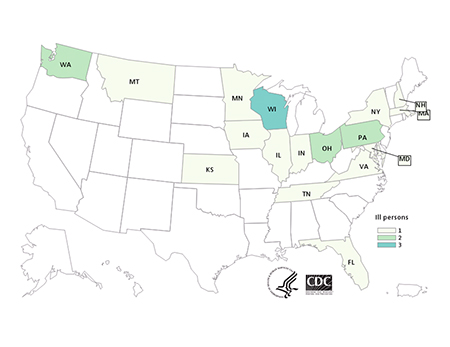 Persons infected with the outbreak strain of Salmonella Muenchen, by state of residence, as of June 16, 2015 (n=20)