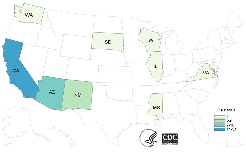 Persons infected with the outbreak strain of Salmonella Paratyphi B variant L(+) tartrate(+), by state of residence, as of May 21, 2015 (n=53)