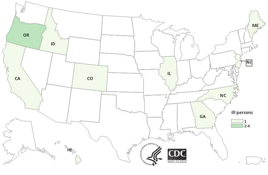 People infected with the outbreak strain of Salmonella Paratyphi B variant L(+) tartrate (+) , by state of residence, as of January 14, 2016 (n=13)