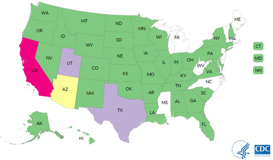 Map of Salmonella Imported Cucumber Outbreak