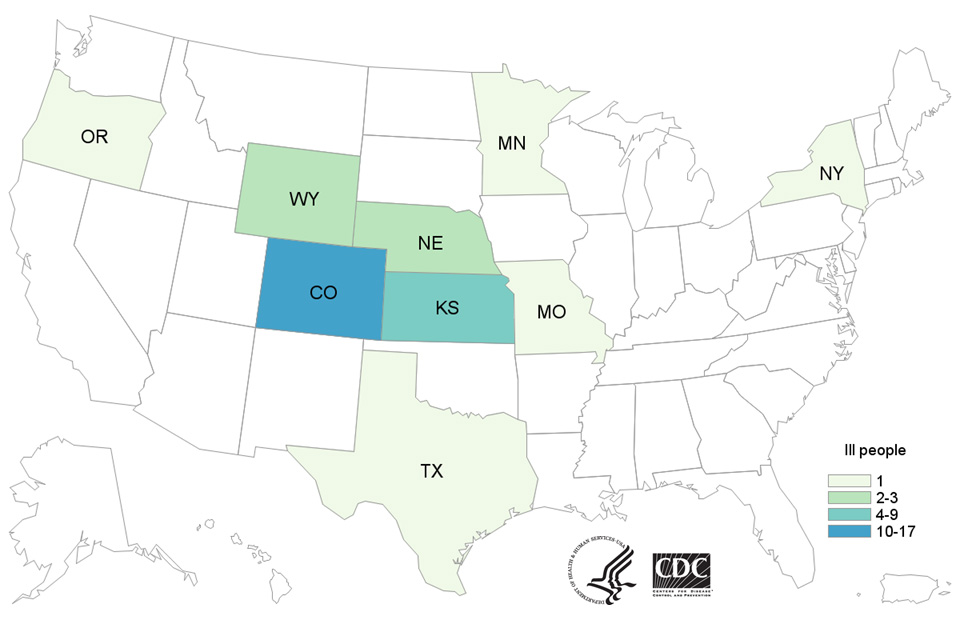 People infected with the outbreak strains of Salmonella Reading or Salmonella Abony, by state of residence, as of September 30, 2016