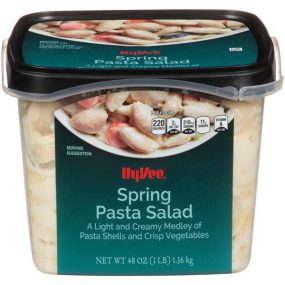Photo of Hy-Vee Spril Pasta Salad with label.