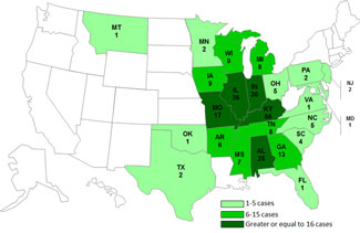Final Case Count Map: Persons infected with the outbreak strains of Salmonella Typhimurium and Salmonella Newport, by State