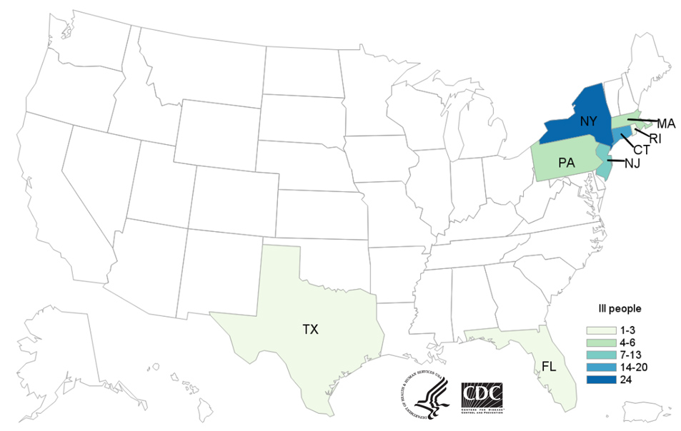Map of United States - People infected with the outbreak strain of Salmonella, by state of residence, as of June 28, 2019