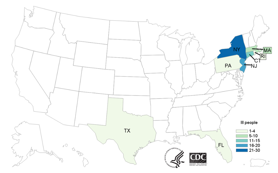 Map of United States - People infected with the outbreak strain of Salmonella, by state of residence, as of July 5, 2019
