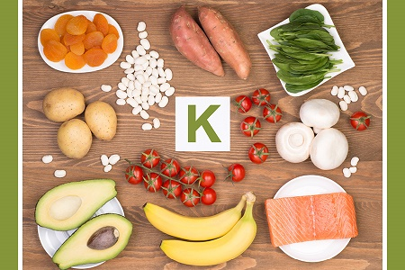 Sources of potassium in food can come from apricots, sweet potatoes, spinach, potatoes, tomatoes, avacadoes, bananas, salmon, mushrooms, and beans.