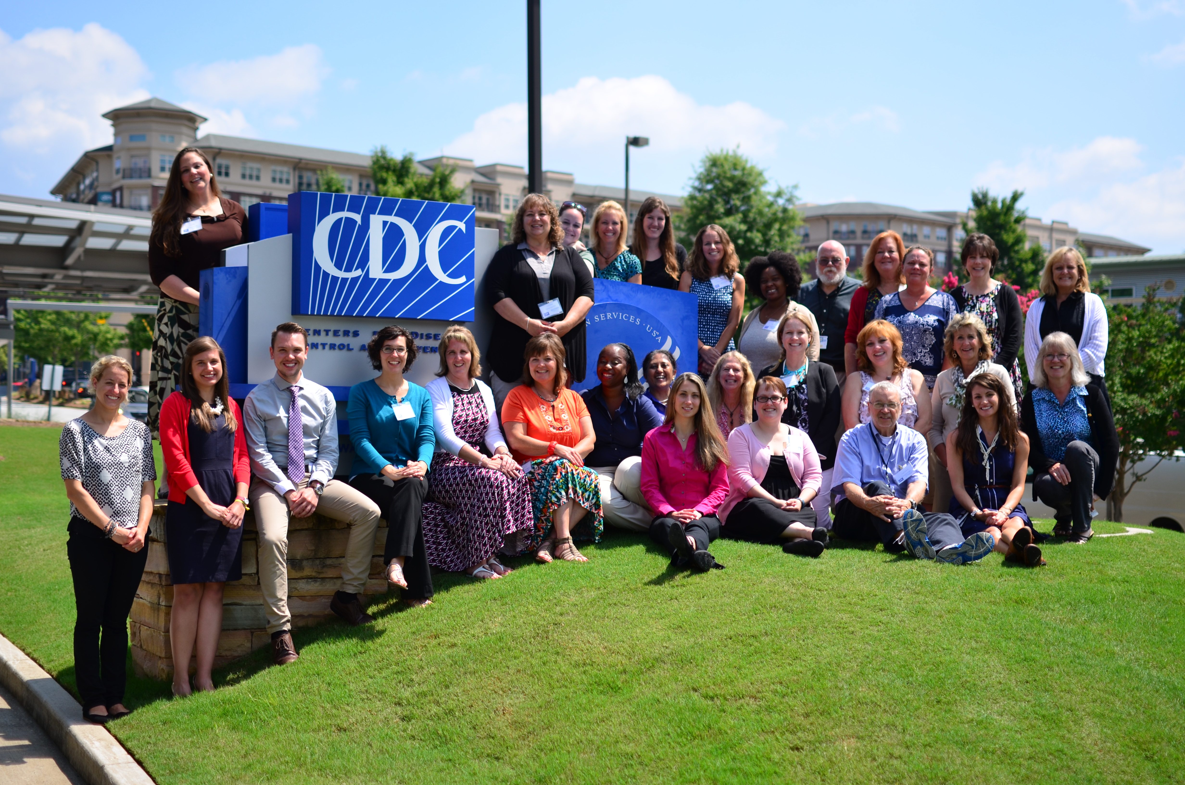 Science Ambassadors posing in front of CDC headquarters