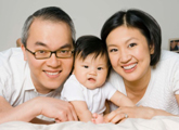 Asian couple with a baby