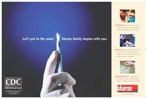 Let's get to the point. Sharps Safety begins with you. poster