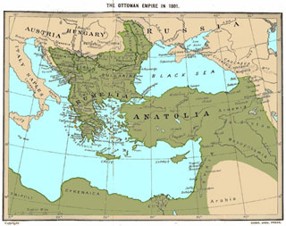 map of Ottoman Empire in 1801