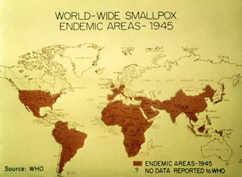 world map shows the worldwide distribution of smallpox and the countries
