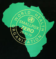 WHO poster commemorating the eradication of smallpox in October 1979.