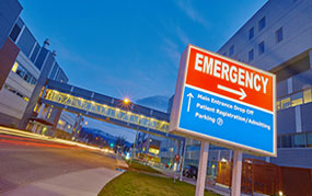emergency room sign outside hospital