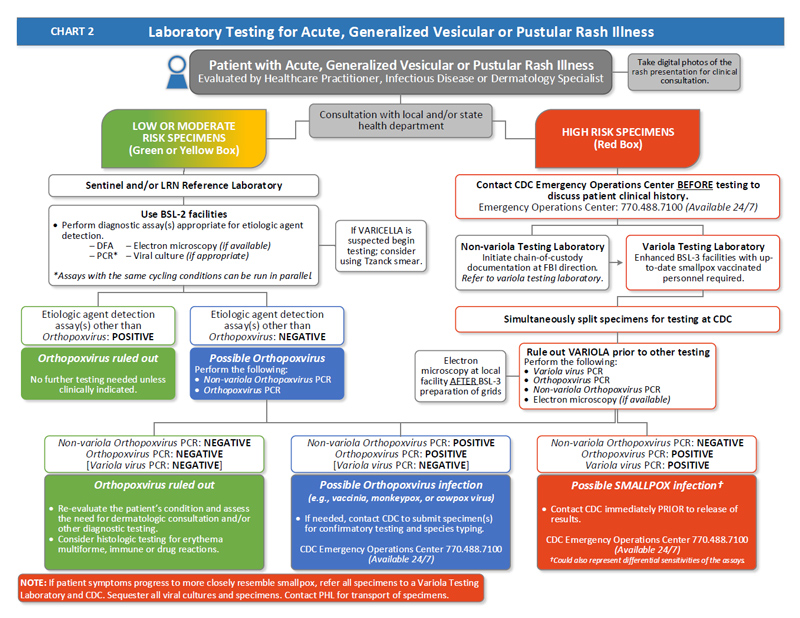 Flow-chart depicting Laboratory Testing for Acute, Generalized Vesicular or Pustular Rash Illness process.