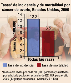 Tasas de incidencia y de mortalidad por cáncer de ovario, Estados Unidos, 2006.