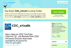 Screenshot of CDC's eHealth Twiiter page