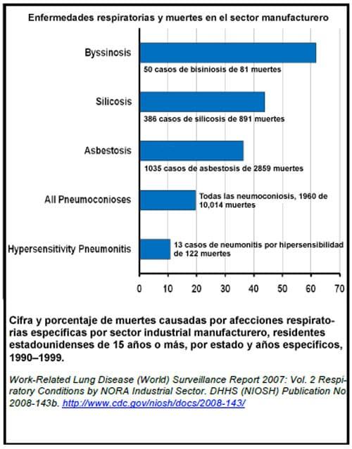 Enfermedades respiratorias y muertes en el sector manufacturero