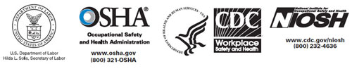 DOL, OSHA, HHS, CDC, NIOSH logos
