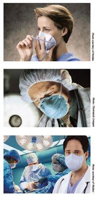 Trabajadora de la salud poniéndose un respirador con mascarilla de filtrado; Trabajador de la salud usando un respirador con mascarilla de filtrado; Trabajador de la salud usando un respirador con mascarilla de filtrado, en primer plano. Otros dos trabajadores y trabajadoras de la salud usando un respirador con mascarilla de filtrado, en una sala de operación.