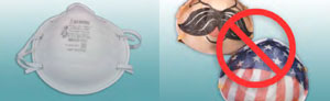 Foto de un respirador N95 con mascarilla de filtrado aprobado por NIOSH antes de ser alterado; Foto de un respirador alterado con decoraciones. La alteración anula la aprobación de NIOSH. El símbolo rojo de