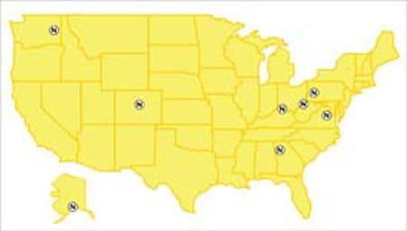 Mapa de los Estados Unidos con las oficinas de NIOSH resaltadas.