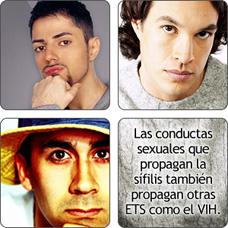 collage de hombres. Las conductas sexuales que propagan la sífilis también propagan otras ETS como el VIH.