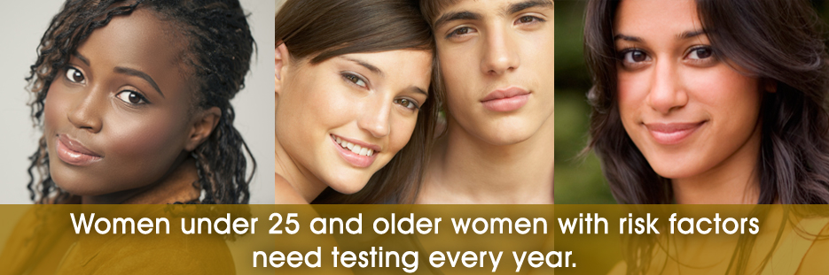 Photos of women. Sexually active females younger than 25 years, as well as older women with risk factors such as new or multiple sex partners, or a sex partner who has a sexually transmitted infection, need testing every year.