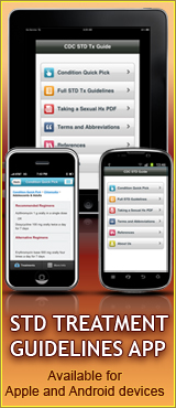 STD Treatment Guidelines App. Available for Apple and Android devices.