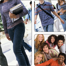 collage of adolescents and young adults, in school and having fun