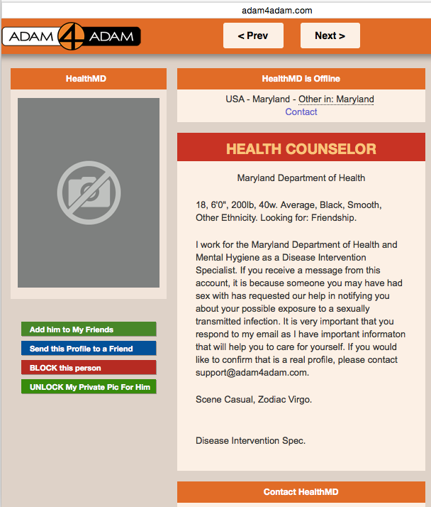 Example from Adam4Adam.com, Maryland Department of Health