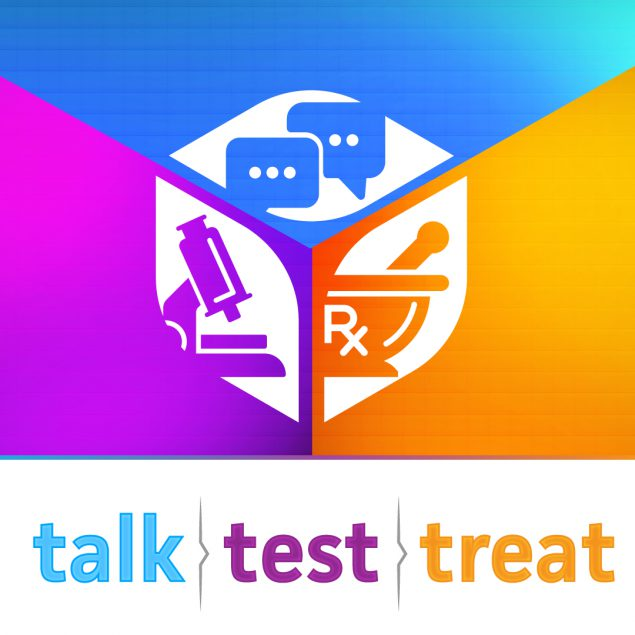 Talk. Test. Treat. Social Media square graphic.